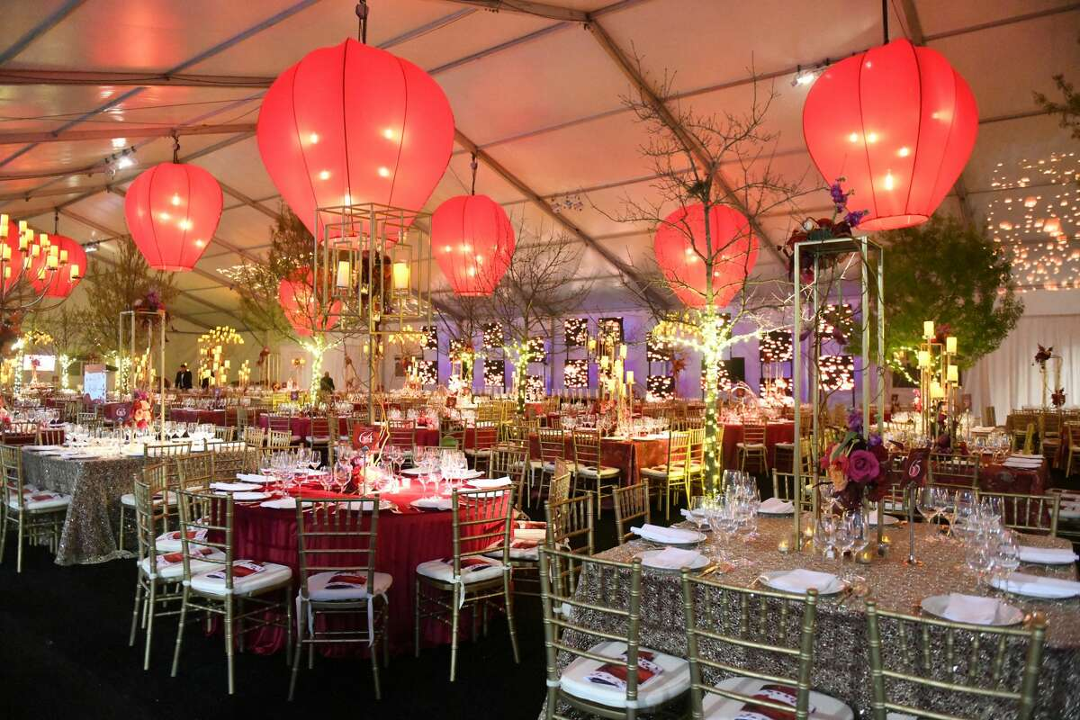 Dinner was held in the Chevron Gala Pavilion covering 1700 square feet of the Asia Society parking lot.