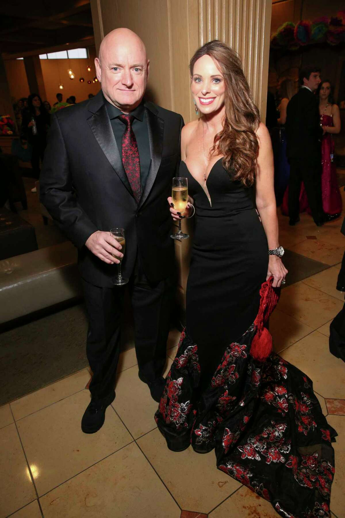 Former astronaut Scott Kelly and wife Amiko pose for a photograph at the San Luis Resort before San Luis Salute on Friday, March 1, 2019, in Galveston.