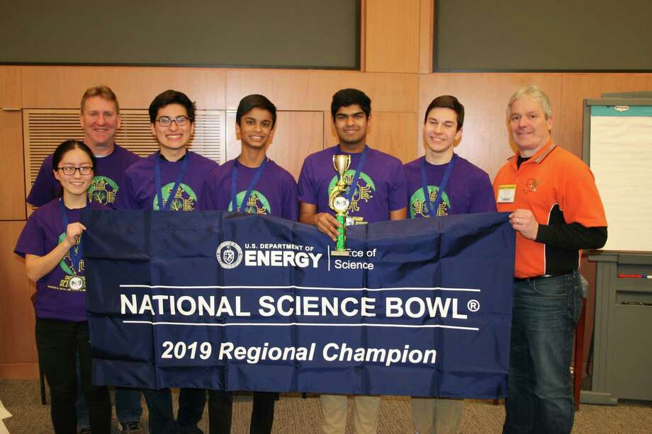 A group of Bethelehem High School students, flanked by their coaches, won the regional Science Bowl competition at G.E.'s Research Center on Saturday. (Left to right: Maggie Sui, Paul O'Reilly, Connor Chung, Avi Patel, Govind Chari, Liam Karl, Shawn Mowery) Photo: Provided By Scott Price