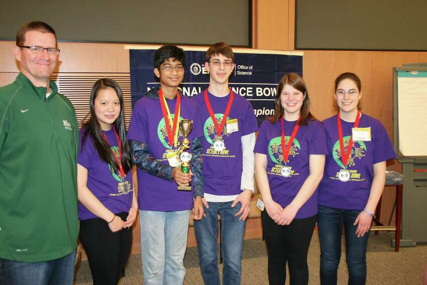 Shenendehowa's Science Bowl team came in second after losing in the final round to Bethelehem High School. (Left to right: Mike Tymeson, Emily Wang, Arya De, Andrew Schwartz, Jessie Partridge, Courtney Golden)