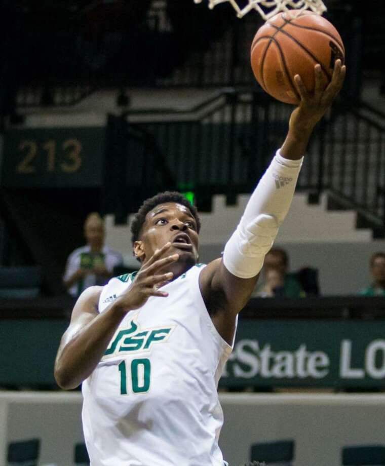 USF forward Alexis Yetna is one of a number of Putnam Science Academy alums playing Division I men's college basketball. Photo: USF Athletics / Contributed Photo