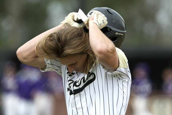 Hayden Johnson #19 of Conroe reacts after grounding out in the fourth inning of a high school baseball game during the Ferrell Classic, Saturday, March 2, 2019, in Conroe. Jersey Village defeated Conroe 5-1.