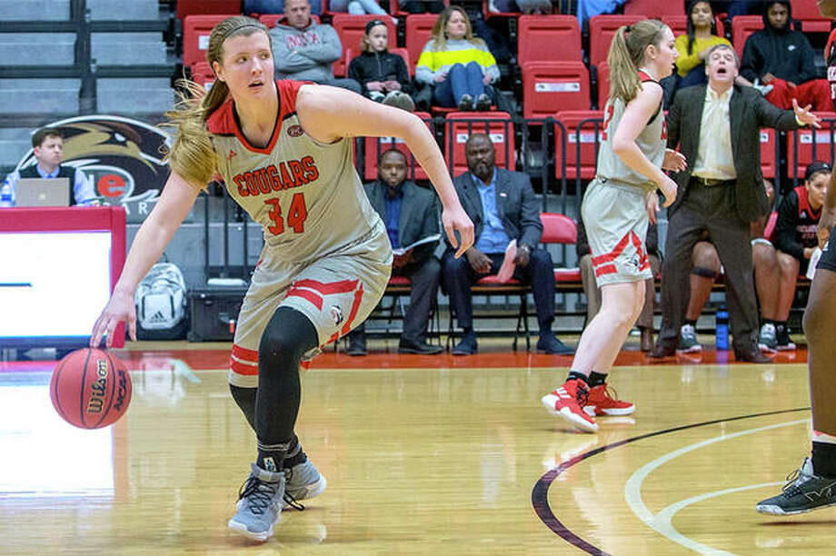 SIUE's Sydney Bauman controls the ball Saturday against Jacksonville State at the Vadalabene Center. Bauman scored 13 points, but the Cougars lost 68-61. Photo: SIUE Athletics