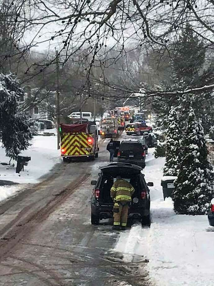 Shortly after 9 a.m., the Clinton Volunteer Fire Department responded to a reported structure fire on Rocky Ledge Drive in Clinton, Conn., on March 2, 2019. Photo: Contributed Photo / Clinton Volunteer Fire Department / Contributed Photo / Connecticut Post Contributed