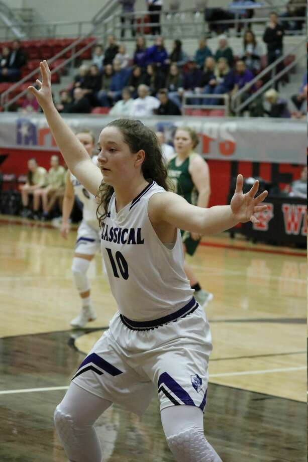 MCA's Leia Beattie defends against Beaumont Legacy Christian during the TAPPS 3A state championship game Saturday morning at West High School. Photo: Kelli Kirk ,  Special To The Reporter-Telegram