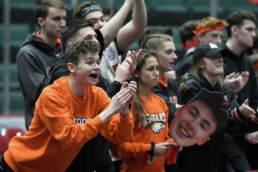 Bethlehem basketball fans cheer after a favourable call is made against Saratoga during the Class AA boys basketball sectional final at Cool Insuring Arena in Glens Falls, N.Y. on Saturday, Mar. 2, 2019. (Jenn March, Special to the Times Union )