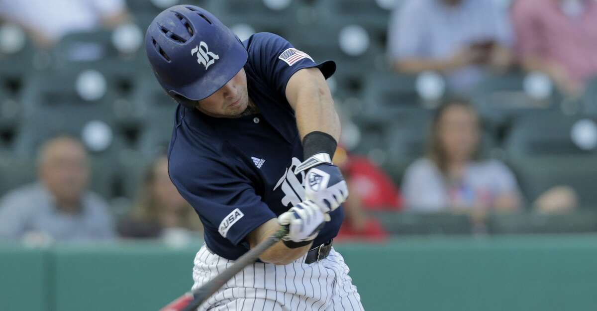FILE PHOTO - Rice designated hitter Andrew Dunlap (27) connects for an RBI single in the first making the score 5-0 in the first against Houston. Photos of Houston and Rice University baseball game at Constellation Field on Tuesday, May 9, 2017, in Sugar Land. ( Elizabeth Conley / Houston Chronicle )