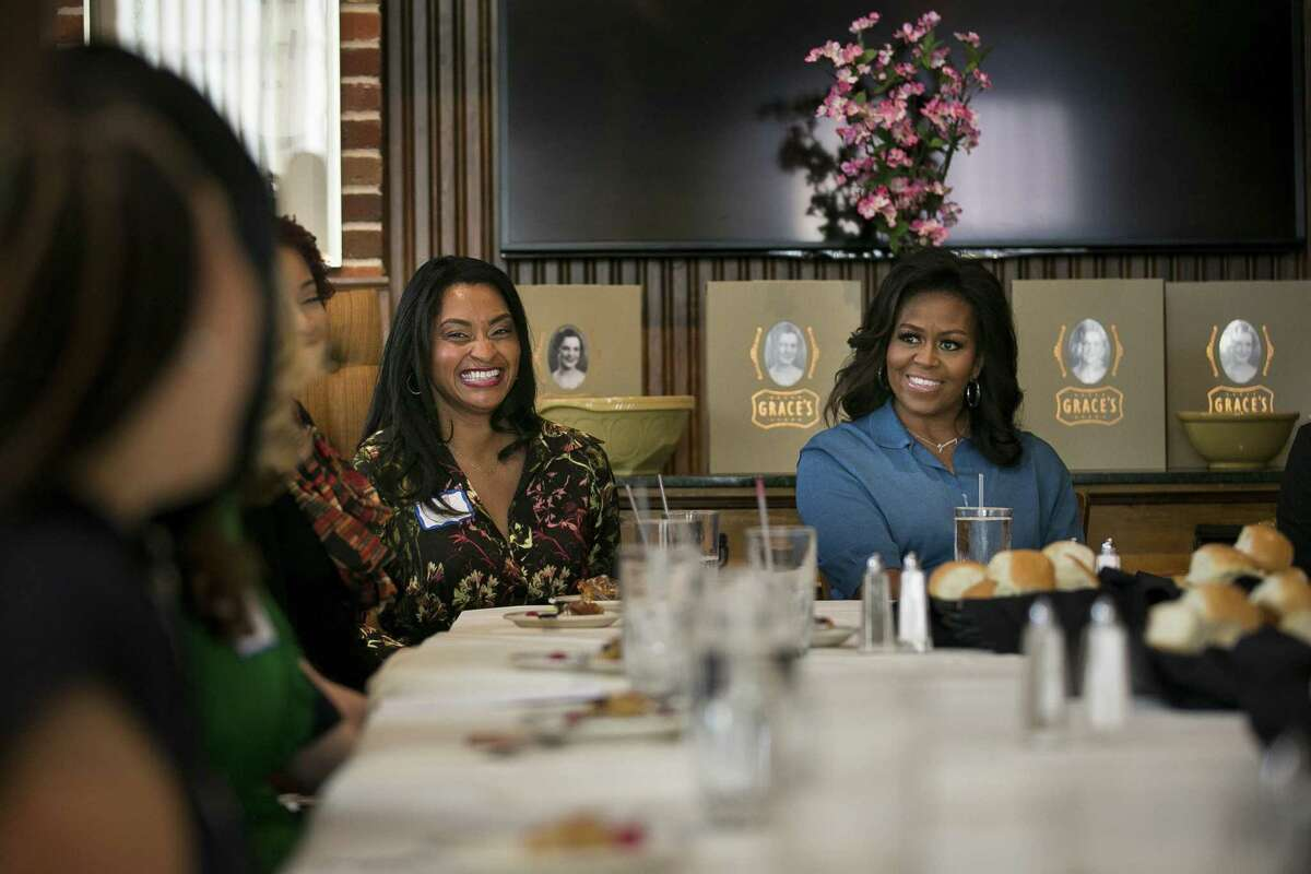 """Former First Lady Michelle Obama meets with HTX Books and Brunch, a local book club, on Saturday, March 2, 2019. Obama visited Houston as part of her tour promoting her new book, """"Becoming."""""""