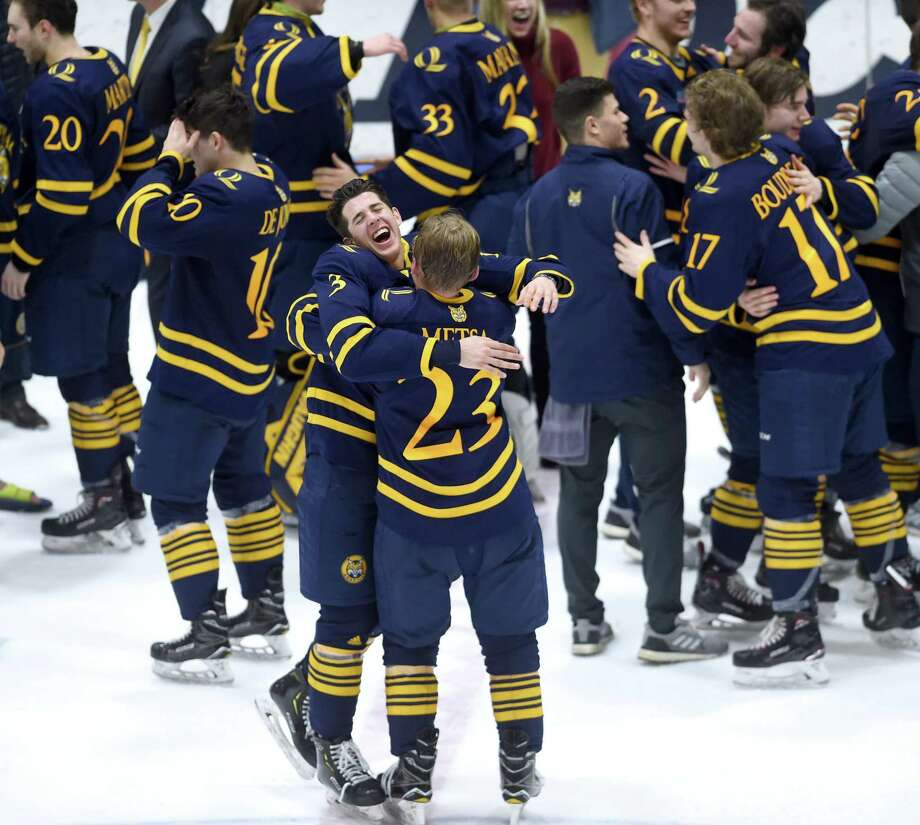 Quinnipiac, picked to finish eighth by the ECAC Hockey media in the preseason, ended up coming away with the Cleary Cup instead. Photo: Arnold Gold / Hearst Connecticut Media / New Haven Register