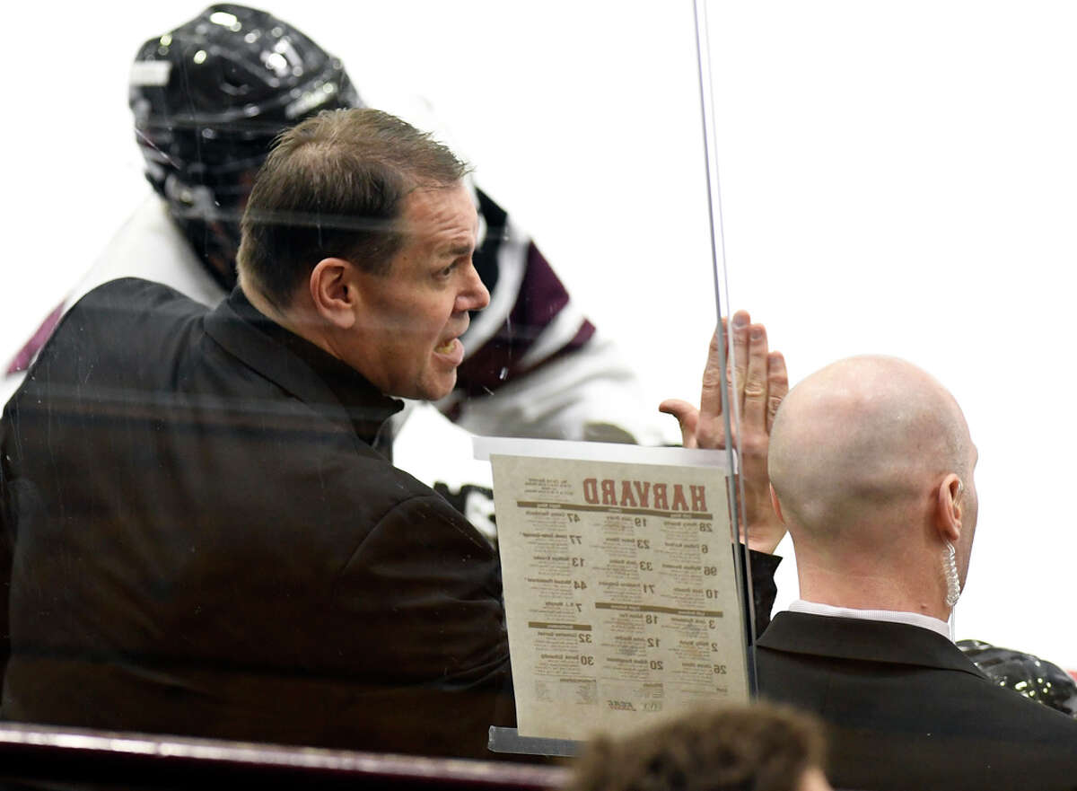 Union head coach Rick Bennett instructs his players against Harvard during the second period of an NCAA hockey game Saturday, March 2, 2019, in Schenectady, N.Y.,