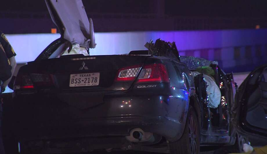 A family of six was pinned inside a vehicle after hitting a barricade on N.W. Loop 410 early Sunday morning, March 3, 2019. Police say the male driver died at the scene. Photo: 21 Pro Video