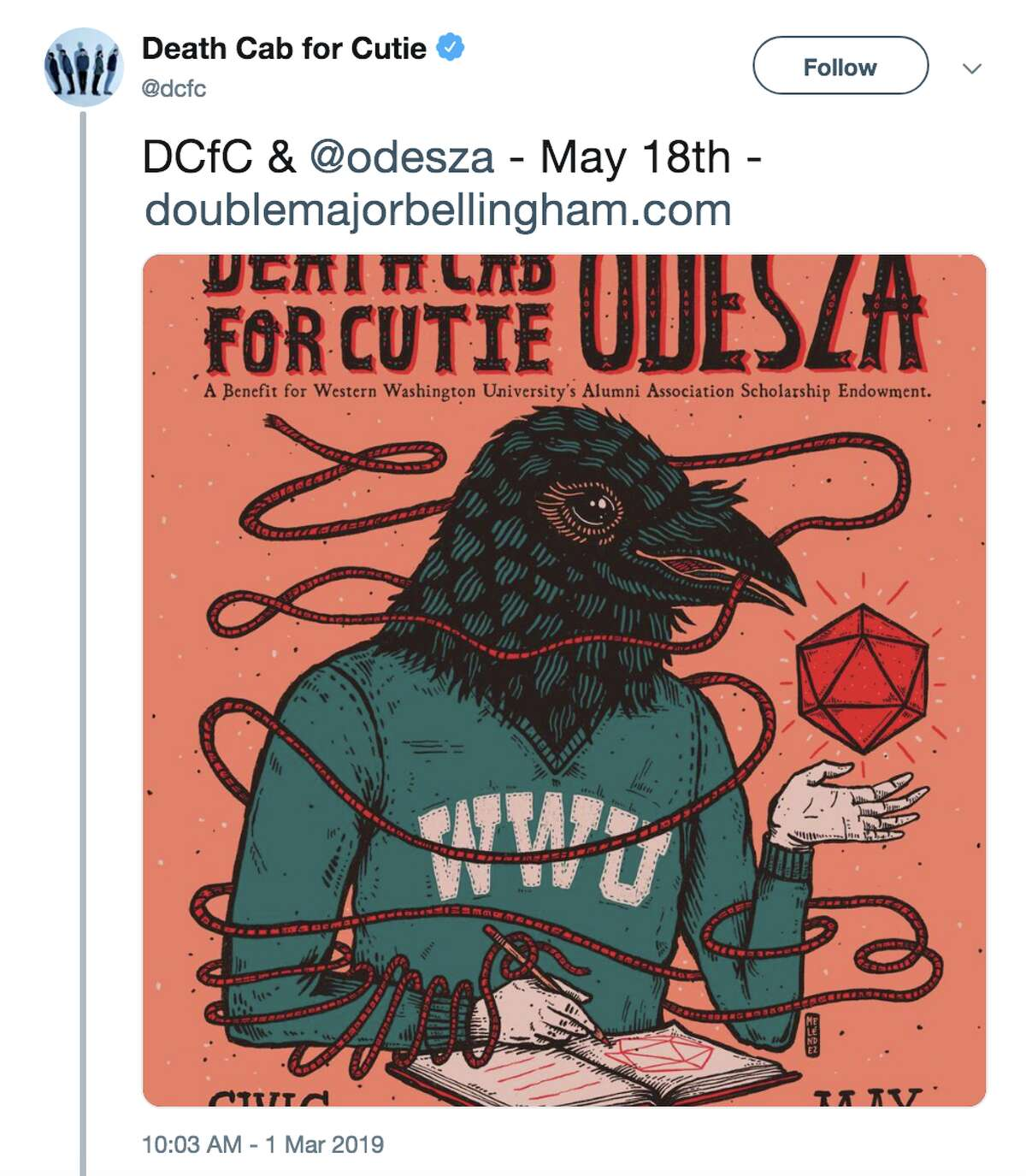 Death Cab for Cutie and ODESZA have announced a joint show to benefit the WWU alumni group.
