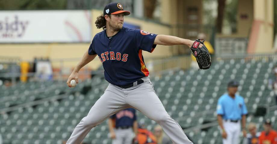 Houston Astros pitcher Gerrit Cole throws during the first inning against the Miami Marlins in a spring training baseball game Tuesday, Feb. 26, 2019, in Jupiter, Fla. (David Santiago/Miami Herald via AP) Photo: DAVID SANTIAGO/Associated Press