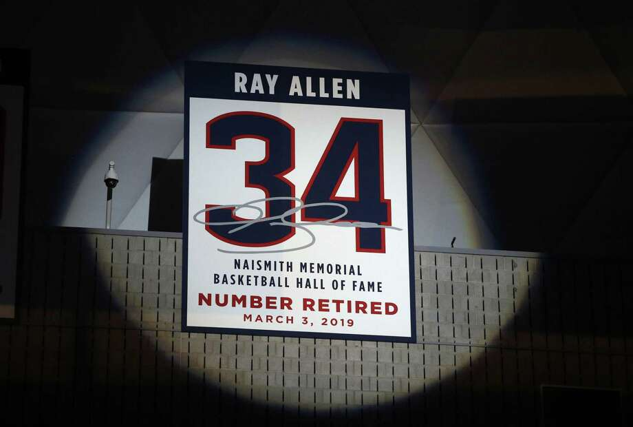 Naismith Memorial Basketball Hall of Famer Ray Allen's number is retired to the rafters during a halftime ceremony in Storrs on Sunday. Photo: Steven Senne / Associated Press / Copyright 2019 The Associated Press. All rights reserved