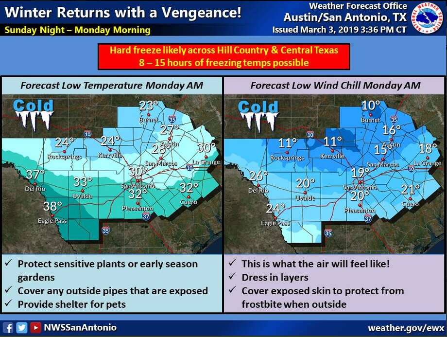 A freeze warning will be in effect Sunday night through Monday afternoon, according to the National Weather Service. Overnight lows are expected to be below freezing in most areas. Photo: National Weather Service