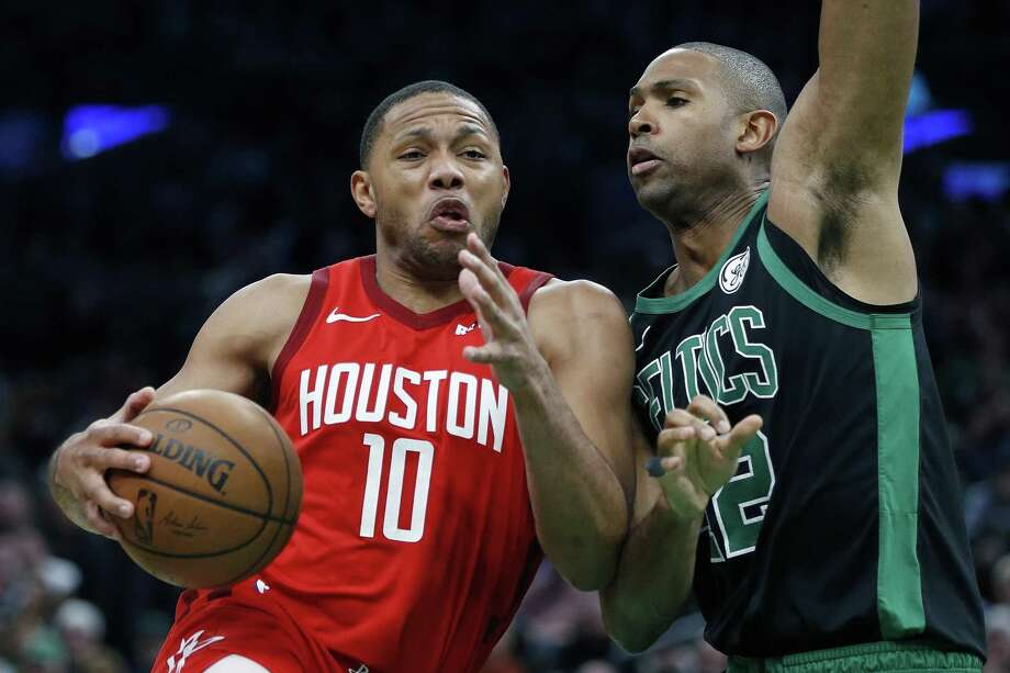 Houston Rockets' Eric Gordon (10) drives for the basket against Boston Celtics' Al Horford during the second half of an NBA basketball game in Boston, Sunday, March 3, 2019. Photo: Michael Dwyer, STF / Associated Press / Copyright 2019 The Associated Press. All rights reserved