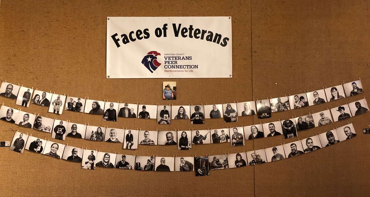 Faces of veterans are exhibited at the Coffee Traders in Saratoga Springs. (Provided)