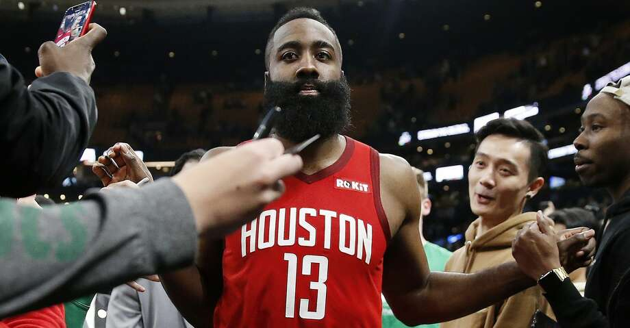 Houston Rockets  James Harden leaves the court after defeating the Boston  Celtics during an NBA fe57d8c94
