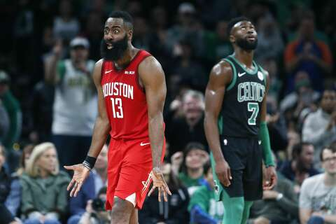 7e966d600  p Houston Rockets  James Harden (13) protests beside Boston Celtics