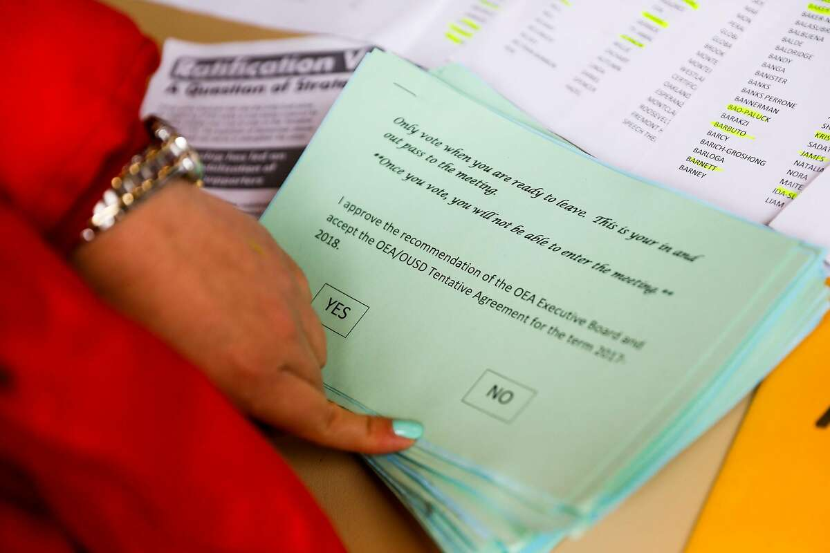 The ballot given to teachers is seen at the check in table outside the Paramount Theater in Oakland, California, on Sunday, March 3, 2019. Teachers lined up to vote on whether or not to ratify a tentative contract that the Oakland Education Association and Oakland Unified School District.