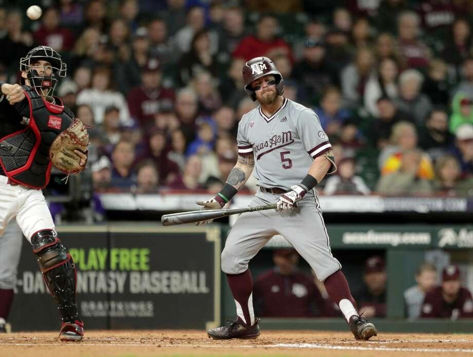 Texas Aggies outfielder Logan Foster (5), in Houston. Photo: Jon Shapley/Staff Photographer