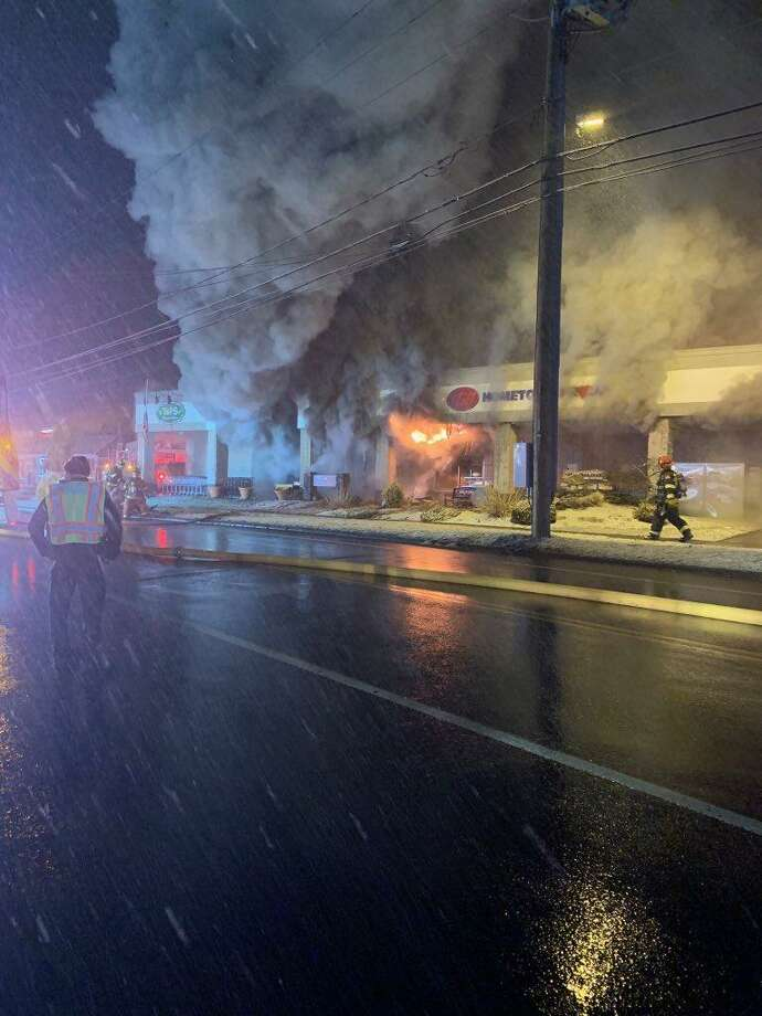 Southington firefighters were on scene at a fire at the IGA store at 887 Meriden-Waterbury Turnpike Sunday, March 3, 2019. Photo: Contributed / Southington Fire Department