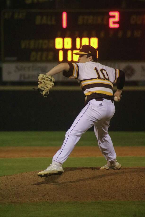 Bryce Mead is about to notch another strikeout during his two effective innings Saturday night. Mead finished with four as he picked up the save for Matthew Potts, who worked the opening five. Photo: Robert Avery