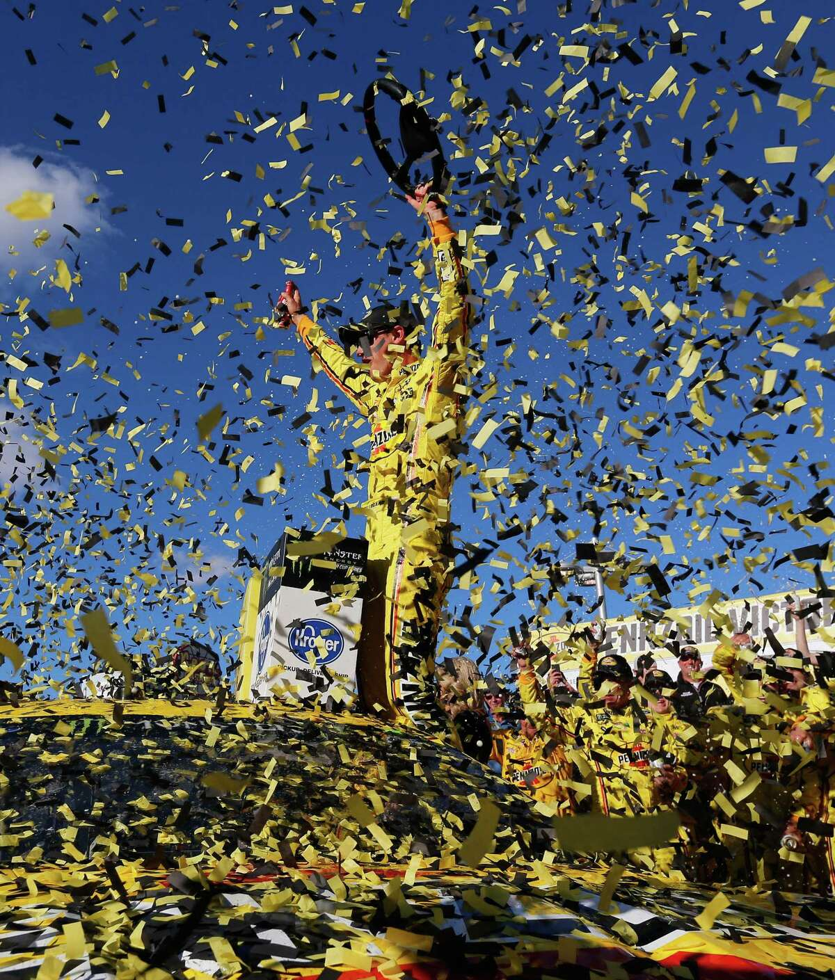 LAS VEGAS, NV - MARCH 03: Joey Logano, driver of the #22 Pennzoil Ford, celebrates in Victory Lane after winning the Monster Energy NASCAR Cup Series Pennzoil Oil 400 at Las Vegas Motor Speedway on March 3, 2019 in Las Vegas, Nevada. (Photo by Jonathan Ferrey/Getty Images)