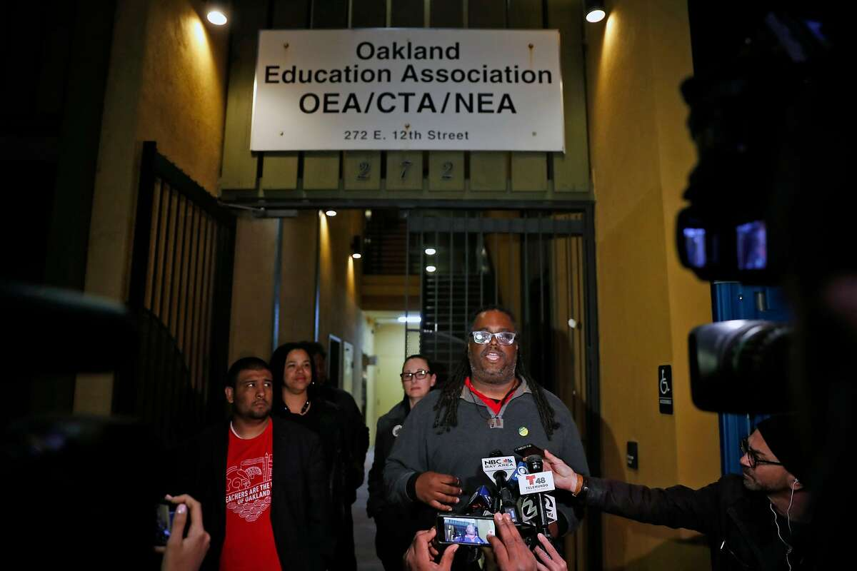 Oakland Education Association President Keith Brown announces that teachers have ratified agreement to return to classroom in Oakland, Calif., on Sunday, March 3, 2019.