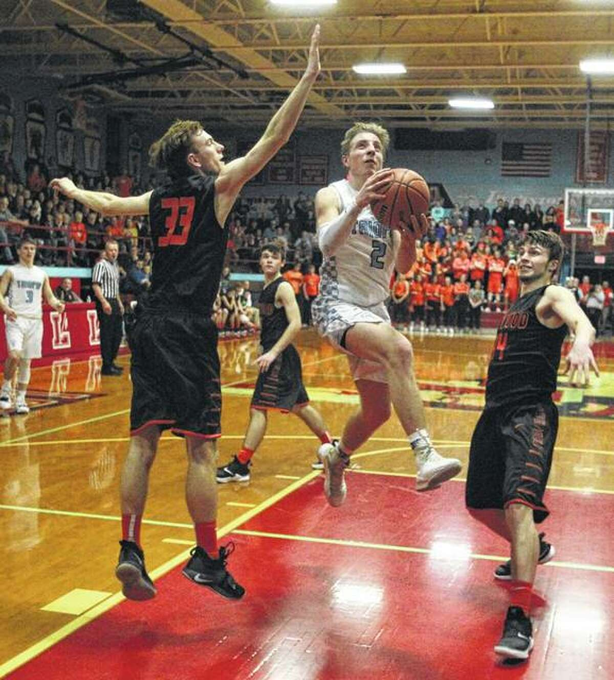 Triopia's Shawn Bell puts up a shot Friday night.