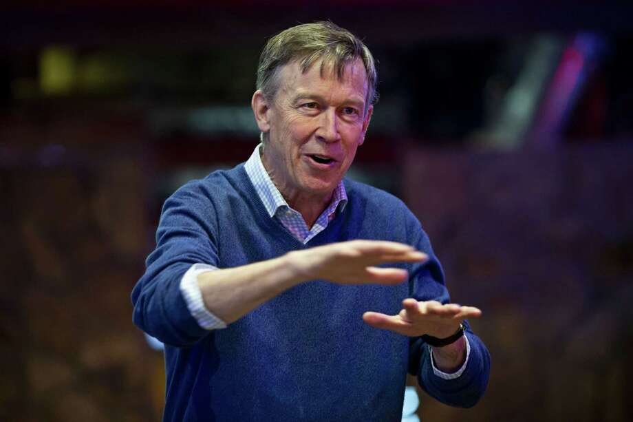 John Hickenlooper, former governor of Colorado, speaks during a campaign stop in Carroll, Iowa, on Feb. 23, 2019. Photo: Bloomberg Photo By Daniel Acker. / © 2019 Bloomberg Finance LP