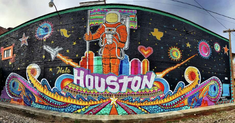 """Gonzo 247 painted """"Hola Houston"""" on a building in San Miguel, Mexico in 2016. The image will be featured during Houston's Spring of Latino Arts. Photo: Courtesy Of The Artist / Courtesy Of The Artist"""