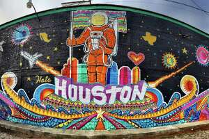"Gonzo 247 painted ""Hola Houston"" on a building in San Miguel, Mexico in 2016. The image will be featured during Houston's Spring of Latino Arts."