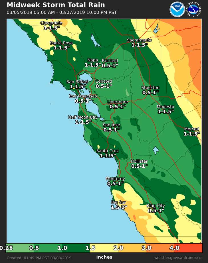 Projected rainfall totals for Tuesday and Wednesday in the San Francisco Bay Area. An atmospheric river is forecast to brush the region March 5 to 6, 2019. Photo: NWS