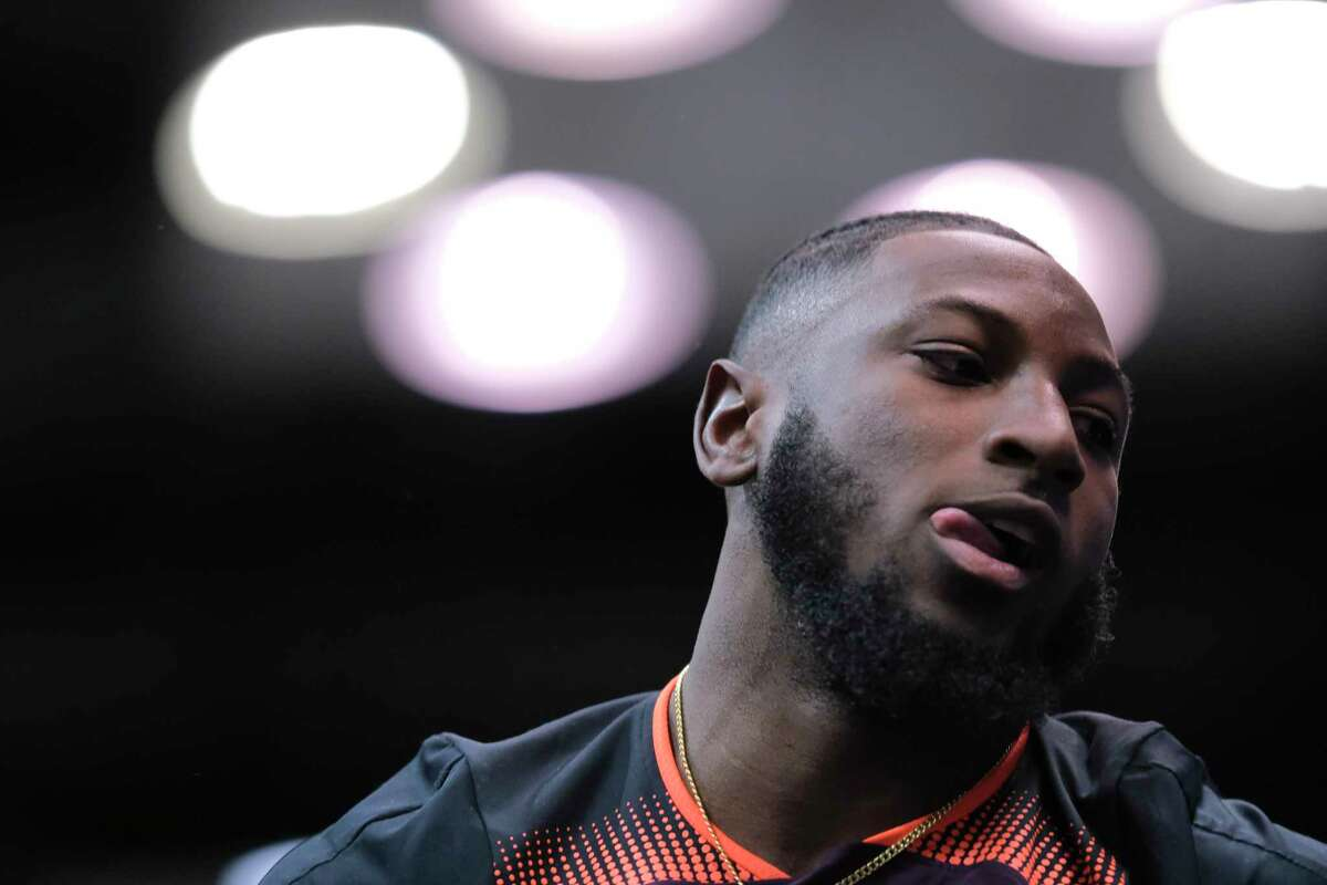 Texas defensive back Kris Boyd at the bench press drill at the NFL football scouting combine in Indianapolis, Thursday, Feb. 28, 2019. (AP Photo/AJ Mast)