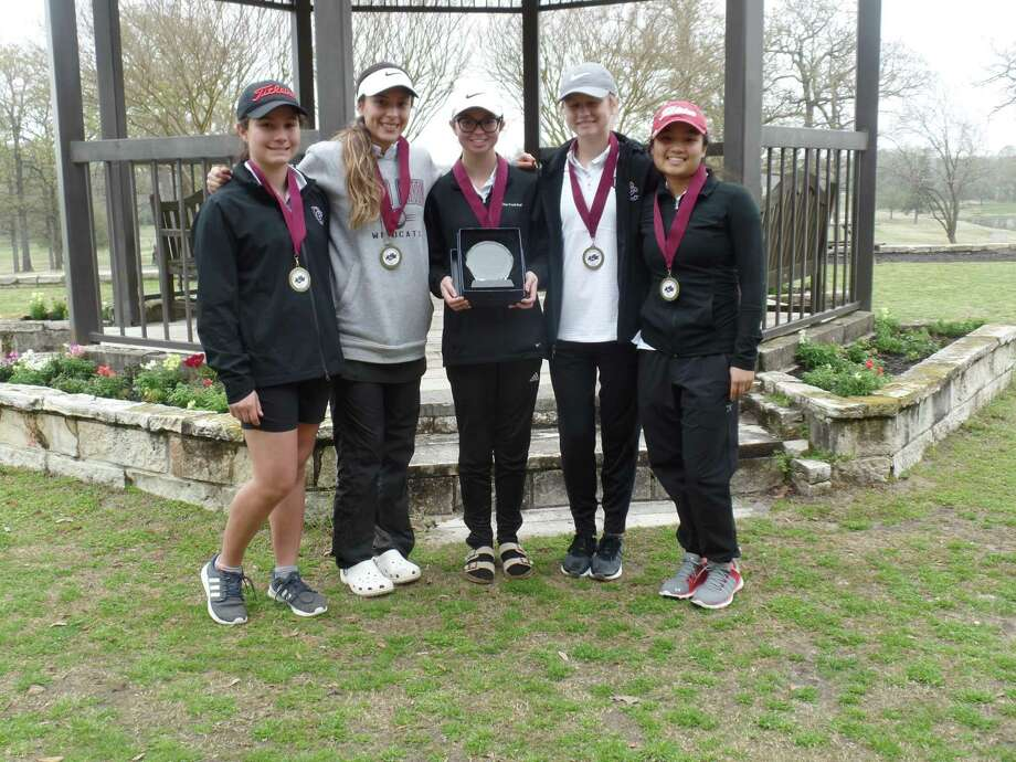 The Clear Creek girls' golf team won the A&M Consolidated tournament this past weekend at Pebble Creek Country Club in College Station. The Lady Wildcats shot 347-333-680 to win by four strokes. Lady Wildcat Trinity Le captured individual honors with an 80-74-154 total, winning the tournament by 12 strokes. Team members, left to right, are Bianca Zamora, Ana Vallejo, Peyton Galyean, Caroline Singletary and Trinity Le. Photo: Submitted Photo