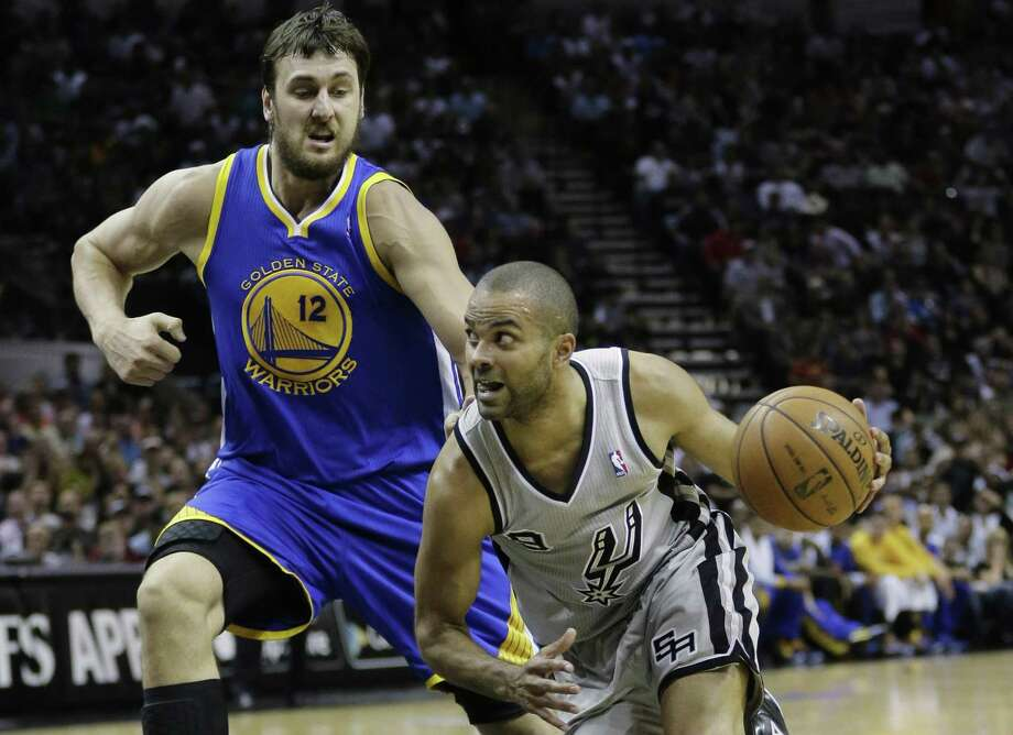 26d1a8982d4 San Antonio Spurs point guard Tony Parker (9) of France, drives past Golden