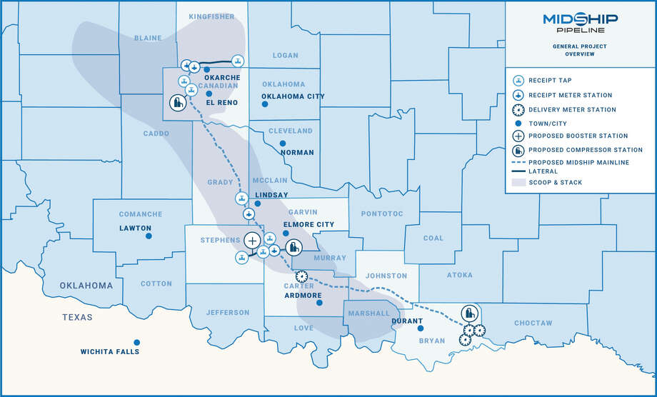 Working in a joint venture, Houston liquefied natural gas company Cheniere Energy and Washington D.C. private equity firm EIG Global Energy Partners are moving forward with plans to build the 200-mile Midship Pipeline in Oklahoma. Photo: Cheniere Energy