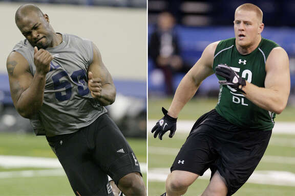 Few players made impressions at the NFL combine like Mario Williams, left, and J.J. Watt did in 2006 and 2011, respectively. Both players eventually were taken in the first round by the Texans.