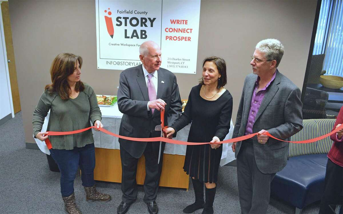 A ribbon-cutting ceremony was held, with, from left co-founder Diane Salerno, First Selectman Jim Marpe, co-founder Carol Dannhauser, and Matthew Mandell, Chamber of Commerce president, at the Fairfield County Story Lab, which opened on Friday, March 1, 2019, in Westport, Conn.