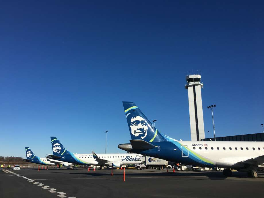 Three Alaska Airlines planes lined up for service to begin out of a new passenger terminal at Paine Field in Everett on Monday, March 4, 2019. Photo: By Genna Martin