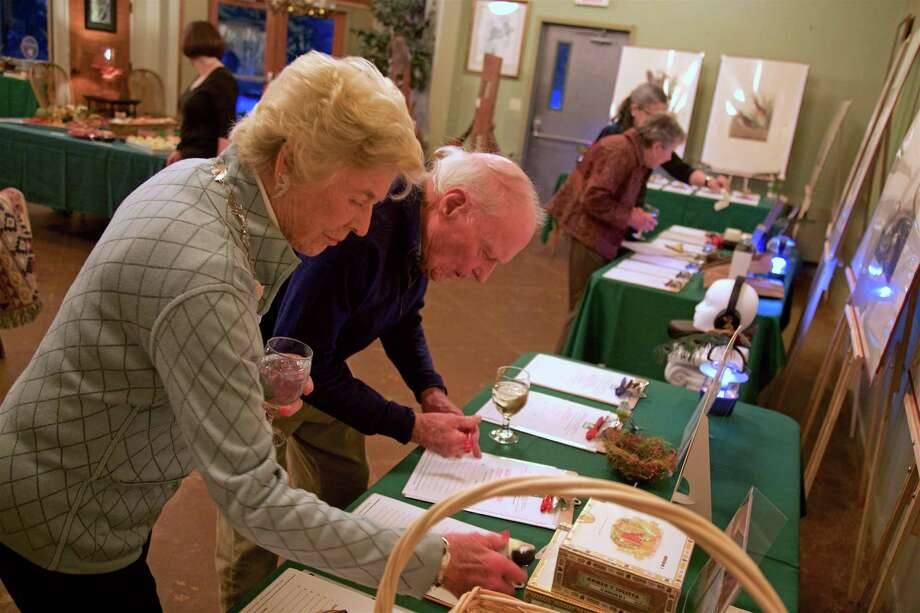 Sally Waugh of Southport and Ted Pratt of Westport look over the auction items at the Audubon Society's Adirondack Night fundraiser on Saturday, March 2, 2019, in Fairfield, Conn. Photo: Jarret Liotta / For Hearst Connecticut Media / Fairfield Citizen News Freelance