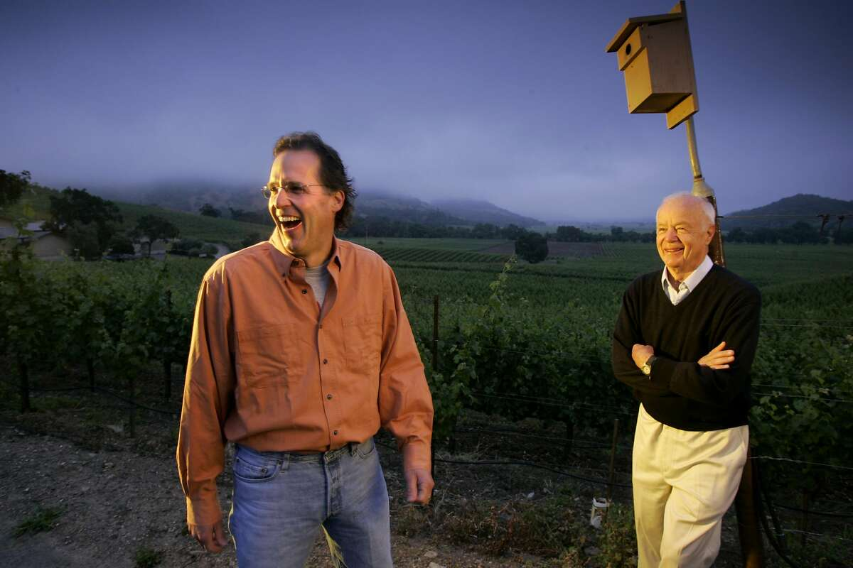 SHAFER02_123_cl.JPG Wine cover story on sustainable grapegrowing and winemaking at Shafer Vineyards in Napa. Photo of John Shafer (right), founder, and his son, Doug Shafer (left), president. John Shafer is leaning against a pole holding a box for song birds. Event on 5/26/05 in Napa. Craig Lee / The Chronicle Ran on: 06-02-2005 With help from a state grant that paid half the initial cost, Shafer Vineyards installed solar panels last winter, cutting its monthly power bill from about $3,000 to about $40.