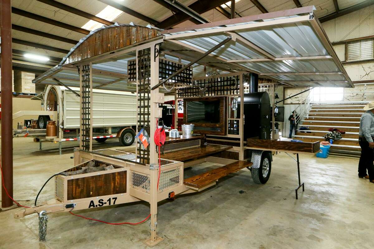 """The """"All-in-One"""" trailer pit built by Roma FFA student Alejandro Salinas for the Junior Agricultural Mechanics Show at the San Antonio Stock Show and Rodeo."""