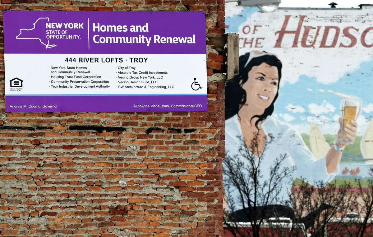 A state housing renewal sign is posted on the exterior of 444 River Lofts, the former Former Marvin Neitzel building on River Street, on Monday, March 4, 2019, in Troy, N.Y. The property is being converted into loft style apartments. (Will Waldron/Times Union)
