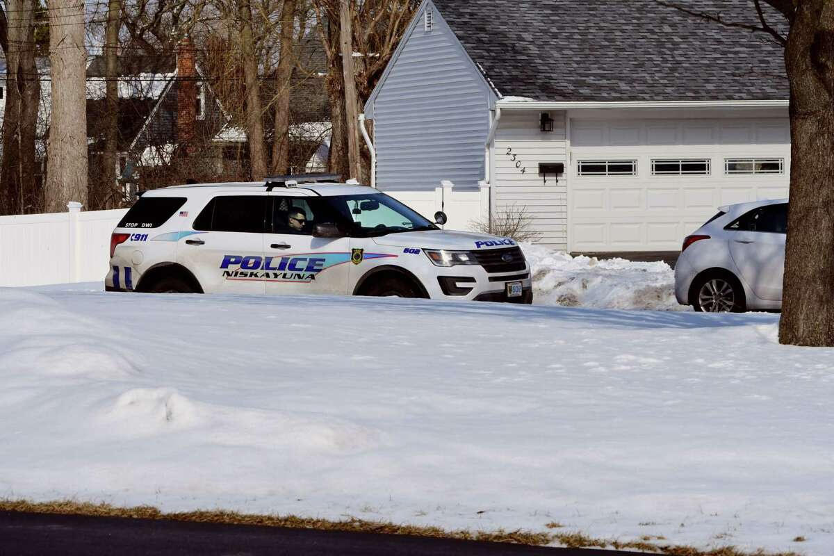 A cop is seen parked on Dean Street monitoring the speed of vehicles traveling on the busy street on Monday, March 4, 2019 in Niskayuna, N.Y. (Lori Van Buren/Times Union)