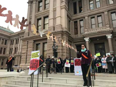 Health care advocates gather on the front steps of the Texas Capitol on Monday, March 4, 2019, asking state lawmakers to put the question of expanding Medicaid in Texas to a statewide vote. The demonstrators were joined by legislators who filed bills to this session to place expanding Medicaid in Texas on future ballots. SAMI SPARBER / HOUSTON CHRONICLE