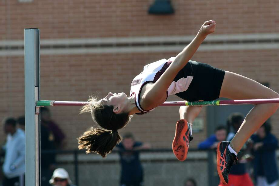 Cinco Ranch sophomore Daniella Munoz competes in the Class 6A Girls High Jump at the UIL Region III 5A & 6A Track Meet at Turner Stadium in Humble on April 28, 2018. Photo: Jerry Baker, Freelance / For The Chronicle / Freelance