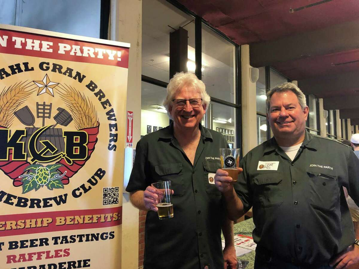 John Dawson (pictured left) and Phil Kaufman proudly represent the Kuykendahl Gran Brewers Homebrew Club at the 15th annual Houston rally of the American Homebrewers Association at Saint Arnold Brewing Company on Saturday, Feb. 23.