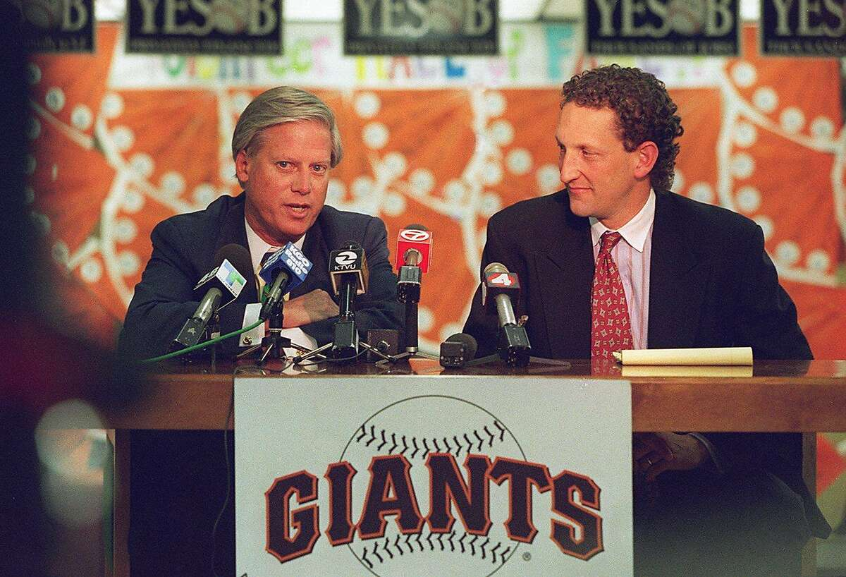 GIANTS/C/27MAR96/CD/VM -l to r peter magowan giants owner and larry baer at a pc about the downtown sf ballpark